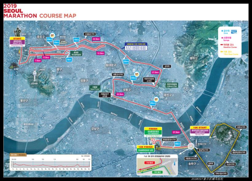 20190317首尔汉城马拉松01全马路线图 820x591 - 20190317第90届汉城马拉松